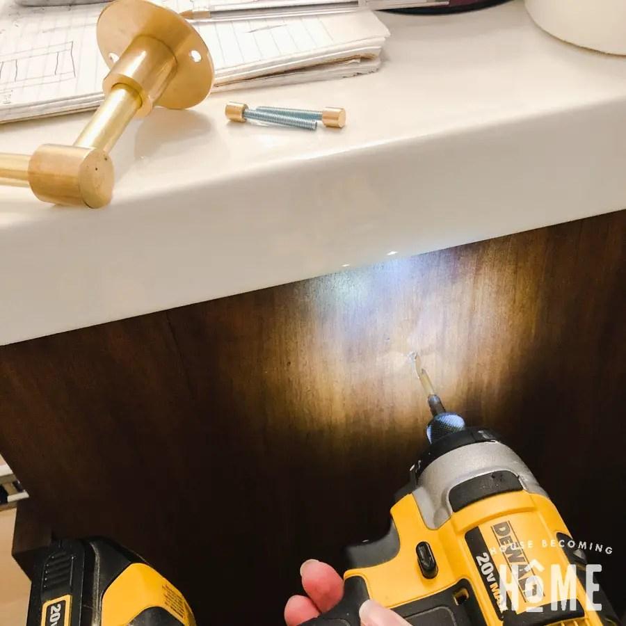 How to Mount DIY Brass Toilet Paper Holder to Wooden Vanity Cabinet