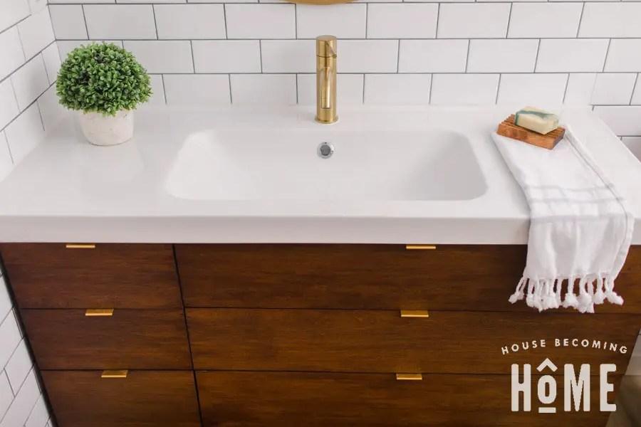 Ikea Odensvik Sink with Cherry Wood DIY vanity