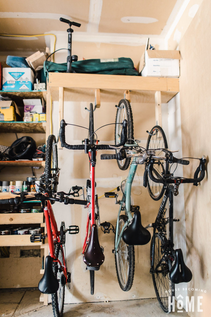 DIY Bike Rack vertical storage