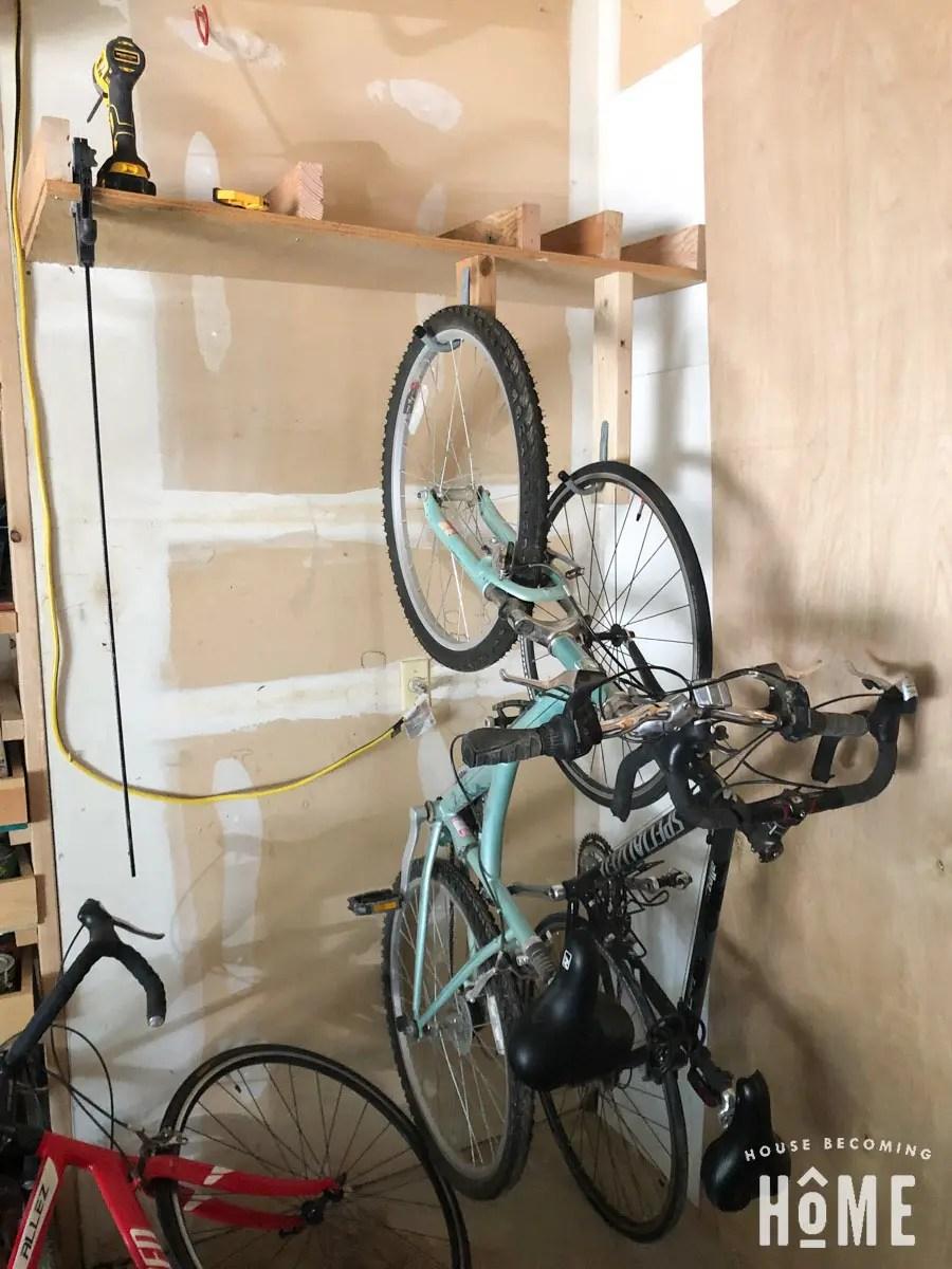 How To Make a DIY Bike Rack : attaching bike-hanging Hooks