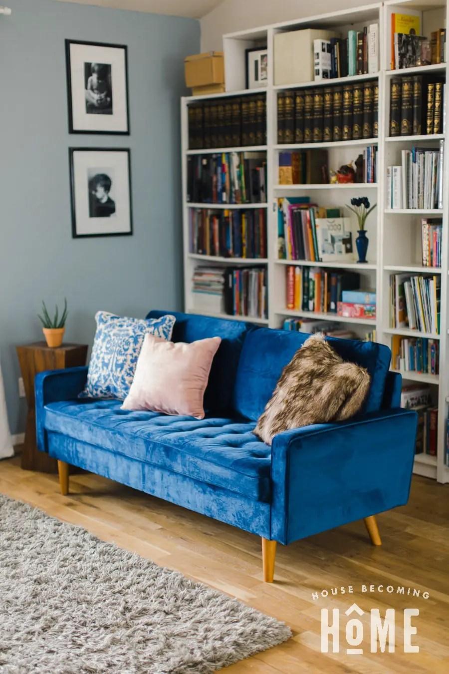 Living Room Update Blue Velvet Sofa