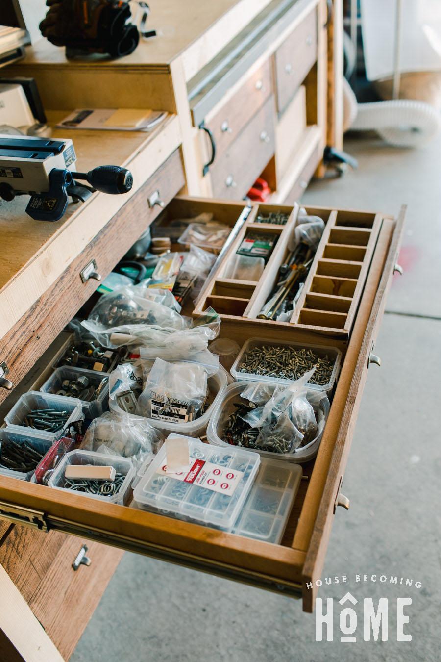 Small Parts Storage Drawers for Garage Workshop
