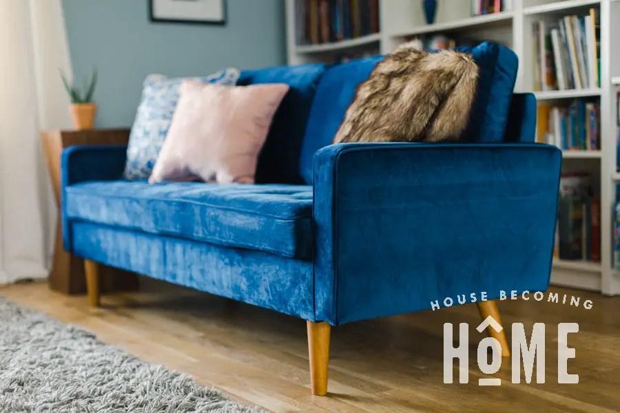 Womble Velvet Sofa in Space Blue