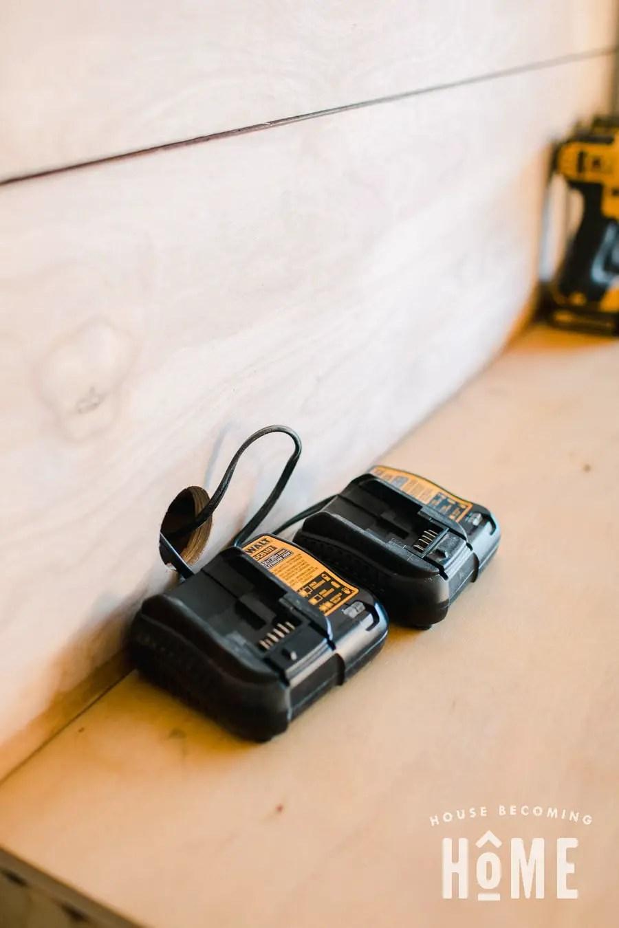 Garage Workshop Battery Charging Area