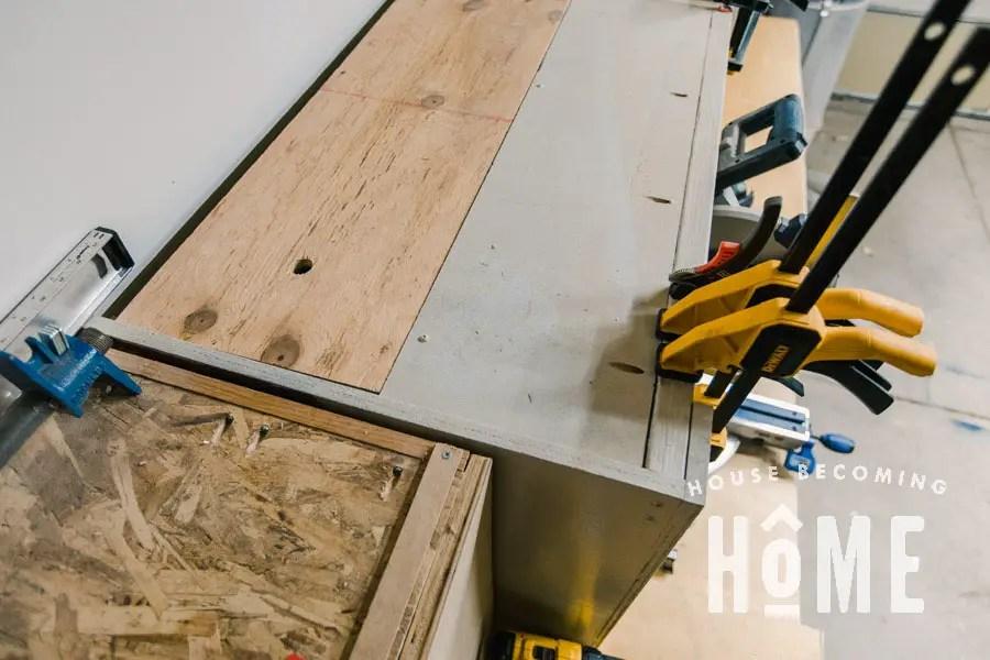 Hidden Storage Miter Hood Opening