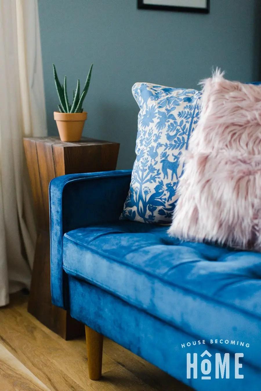 Updated LIving Room with Velvet Sofa