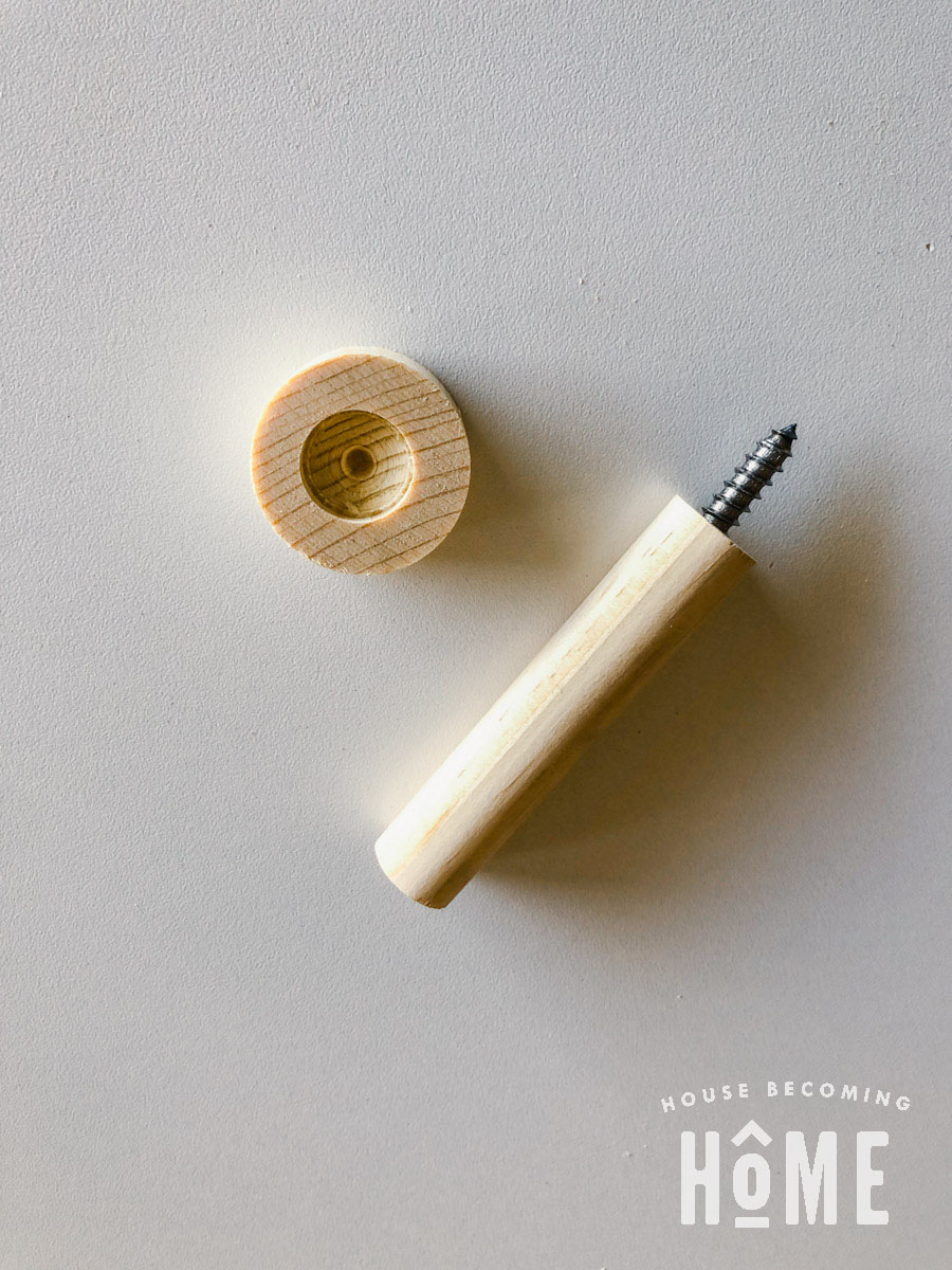 All Pieces to Make a Coat Hook from Dowels