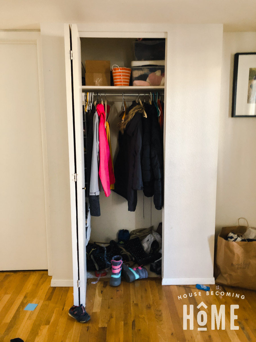 Coat Closet Before DIY Reorganization-100