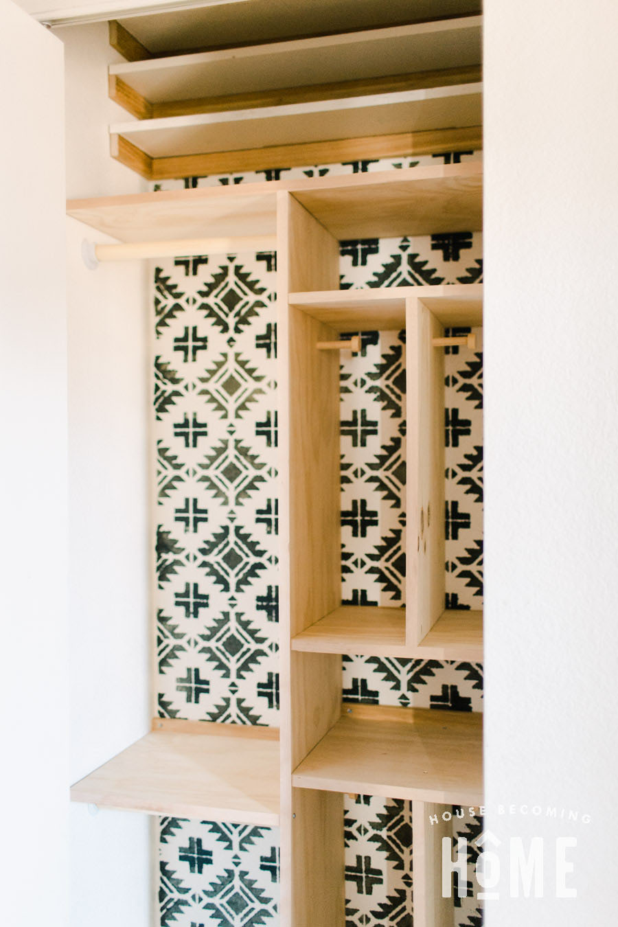 Coat Closet Reorganization Stenciled Wall with Dividers