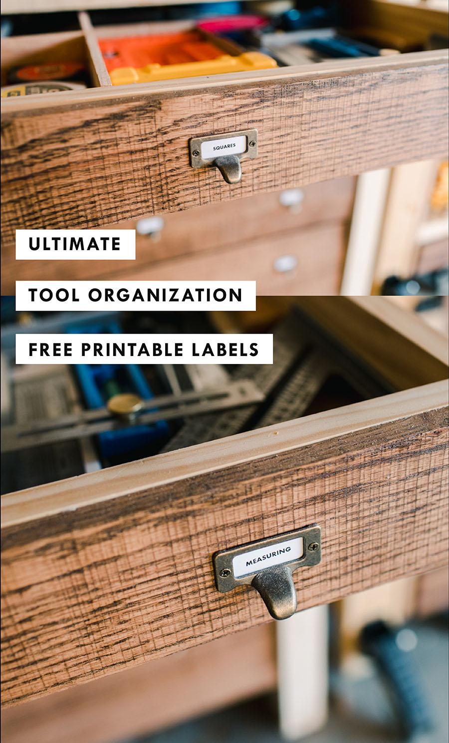 Miter Station Drawers Free Labels for Tools Workshop