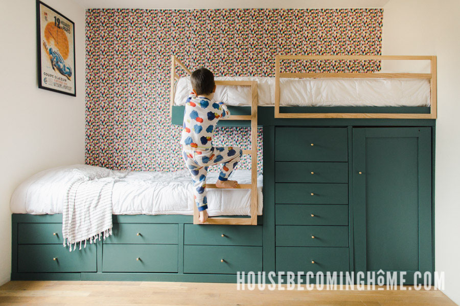 How to Make Offset Built in Bunk Beds with Ladder and Guard Rails