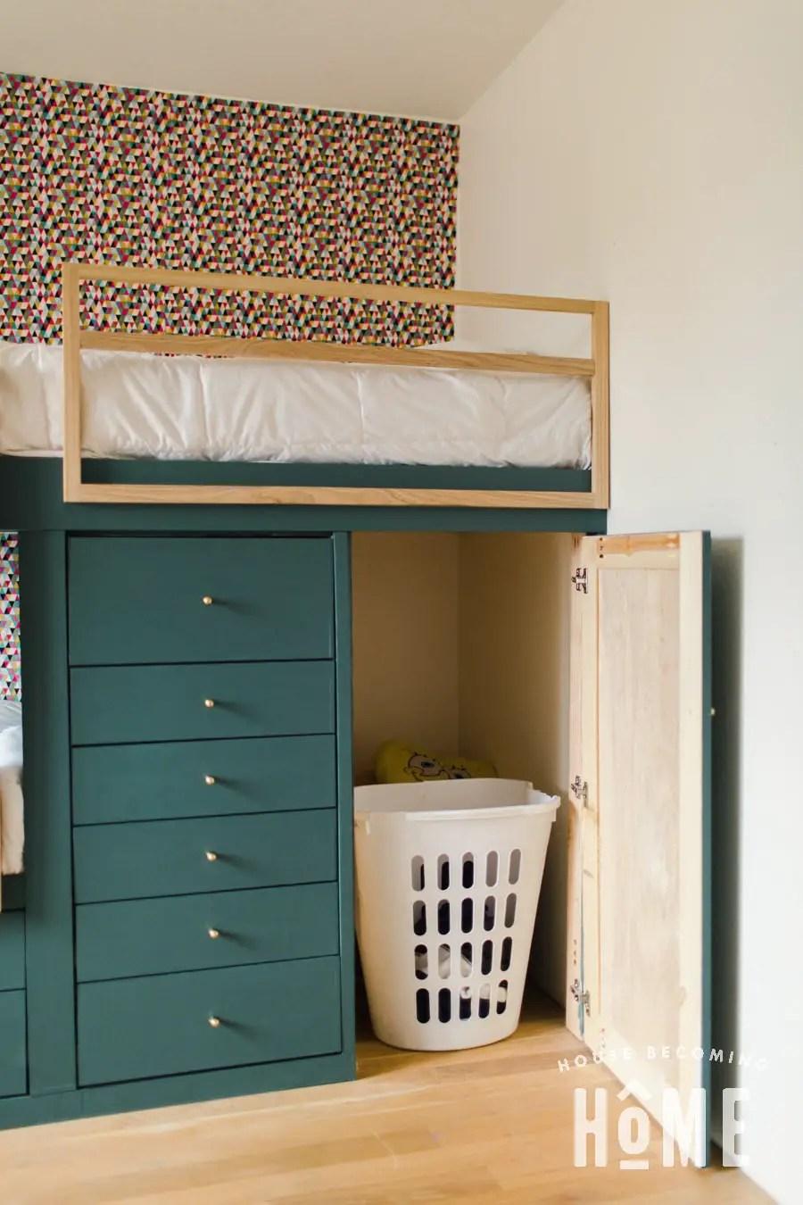 Laundry Basket Storage inside Built in Bunk Beds