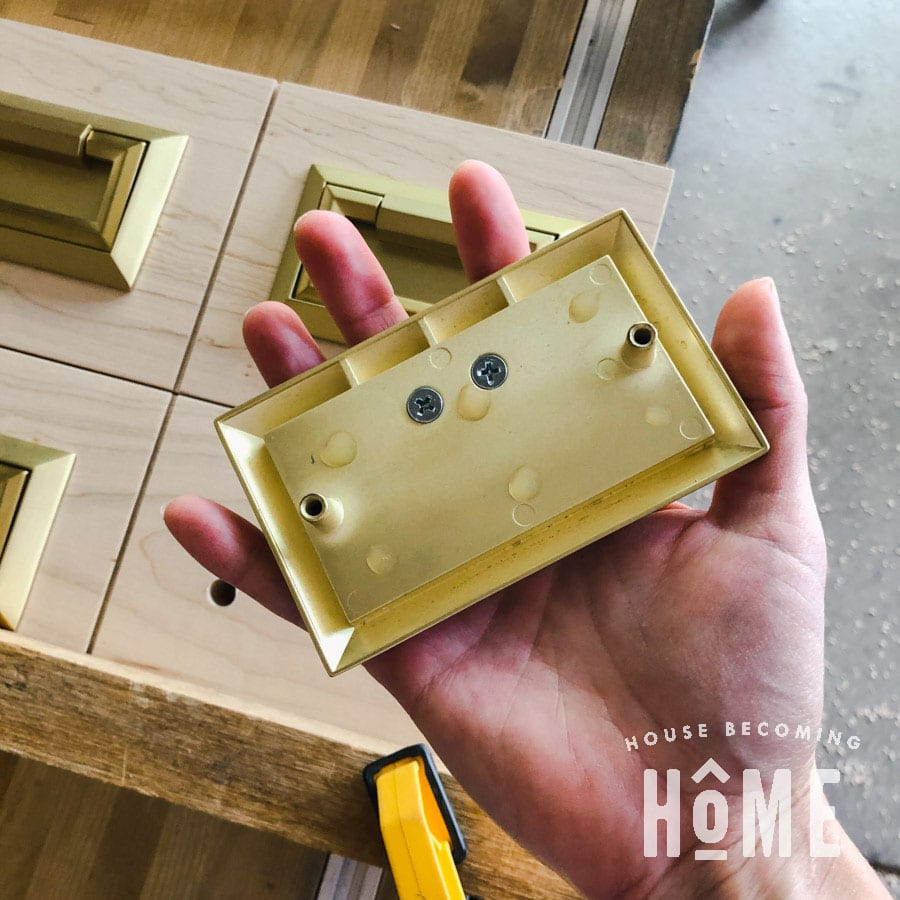 Brass Campaign Bail Pull Attached with CA Glue