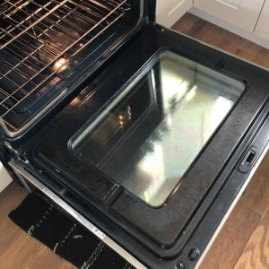 Shiny Oven Glass After Cleaning with Bar Keepers Friend
