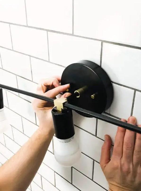 Replacing a bathroom light fixture