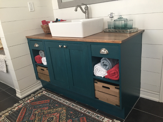 bathroom vanity painted with benjamin moore tuscon teal