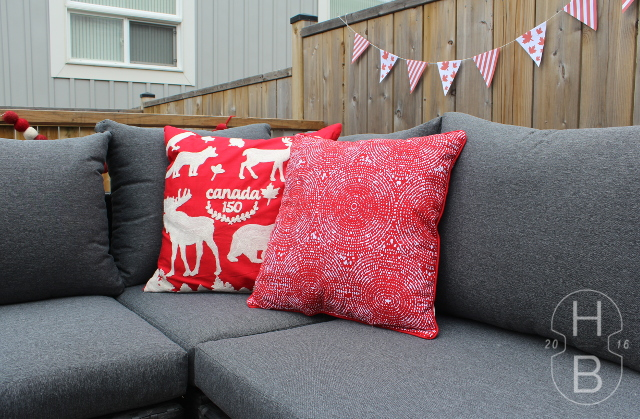 Canada Day Throw Pillows | Canada Day Decorating with Frozen Flag Cocktails | House by the Bay Design