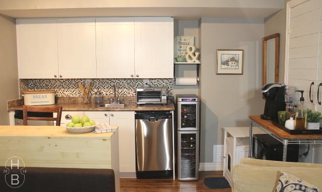 Farmhouse Kitchenette by the Bay Design | Basement apartment kitchen design