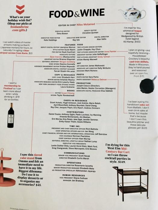 Food and Wine magazine