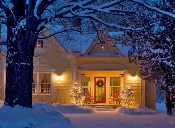 beautifully decorated holiday house
