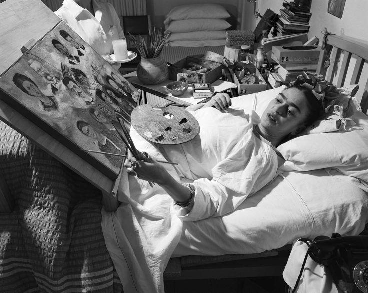 Frida Kahlo at home in her bed