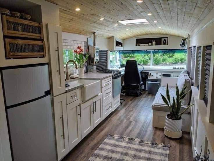 Bus converted to gorgeous living space