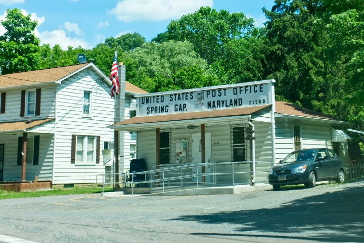 historic country post office Spring Gap, Maryland