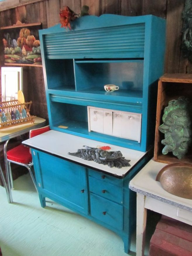 blue color Hoosier cabinet