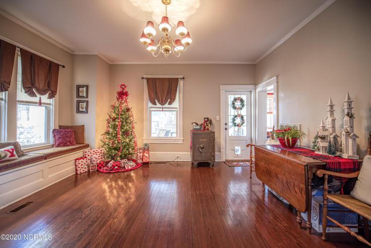 historic bungalow decorated for Christmas