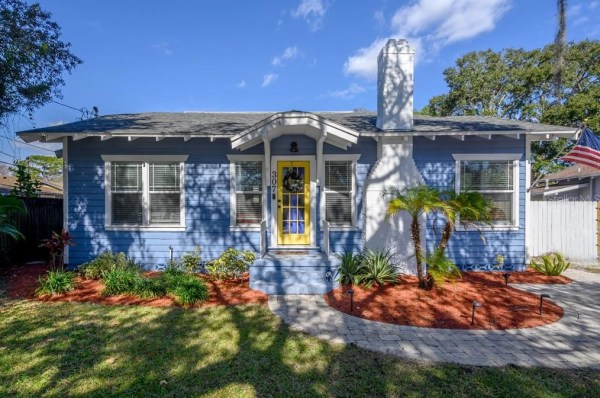 blue Craftsman bungalow for sale in Tampa Florida