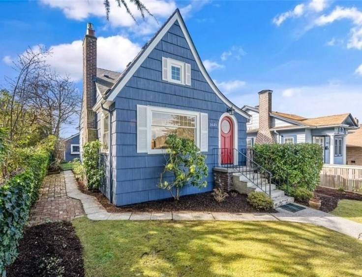 blue Tudor cottage for sale