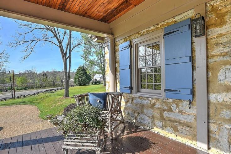 old stone house front porch