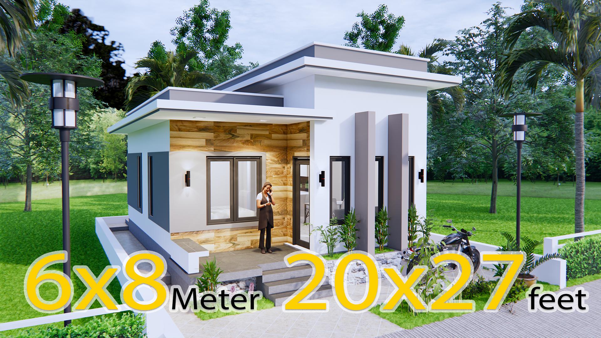 Small House Design 6x8 Meter 20x27 Feet Terrace Roof House Design 3d