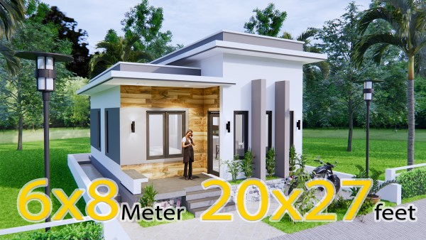 Small House Design 6x8 Meter 20x27 Feet Terrace Roof