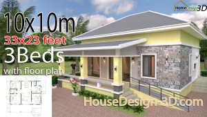 House Design 3d 10x10 Meter 33x33 Feet 3 Bedrooms Hip roof