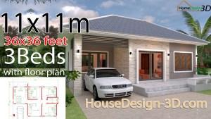 House Design 3d 11x11 Meter 36x36 Feet 3 Bedrooms Hip Roof