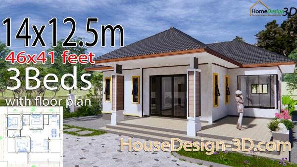 House Design 3d 14x12.5 Meter 46x41 Feet 3 Bedrooms Hip Roof