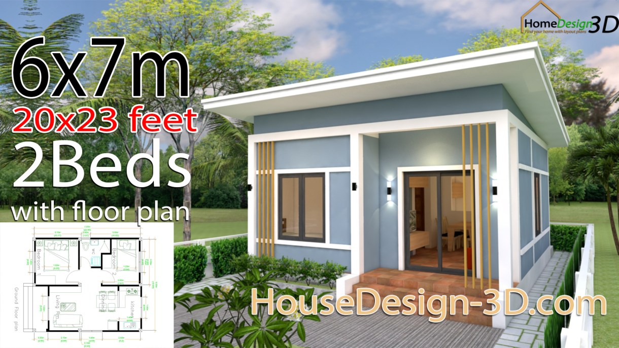 House Design 3d 6x7 Meter 20x23 Feet 2 Bedrooms Shed Roof