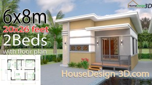 House Design 3d 6x8 Meter 20x26 Feet 2 Bedrooms Shed Roof