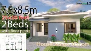House Design 3d 7.5x8.5 Meter 25x28 Feet 2 bedrooms Hip Roof