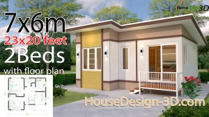 House Design 3d 7x6 Meter 23x20 Feet 2 bedrooms Shed Roof