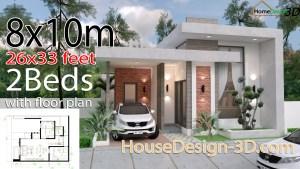 House Design 3d 8x10 Meter 26x33 Feet 2 Bedrooms Terrace roof