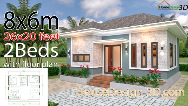 House Design 3d 8x6 Meter 26x20 Feet 2 Bedrooms Hip roof