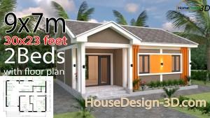 House Design 3d 9x7 Meter 30x23 Feet 2 Bedrooms Gable Roof