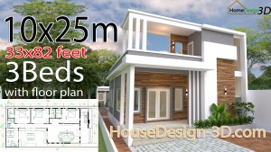 House Design Plans 10x25 with 33x82 Feet 3 bedrooms