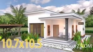 House Design 3d 10.7x10.5 Meter 35x34 Feet 2 Bedrooms Flat roof