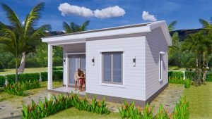 One Bedroom House Plans 21x21 Feet 6.5x6.5m Gable Roof