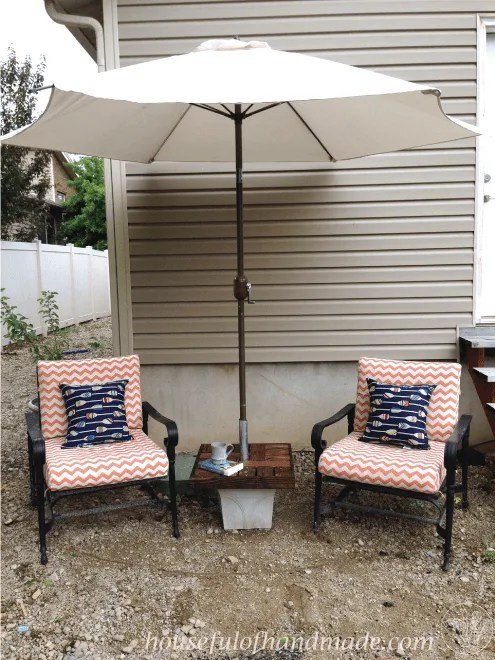 make your own umbrella stand side table