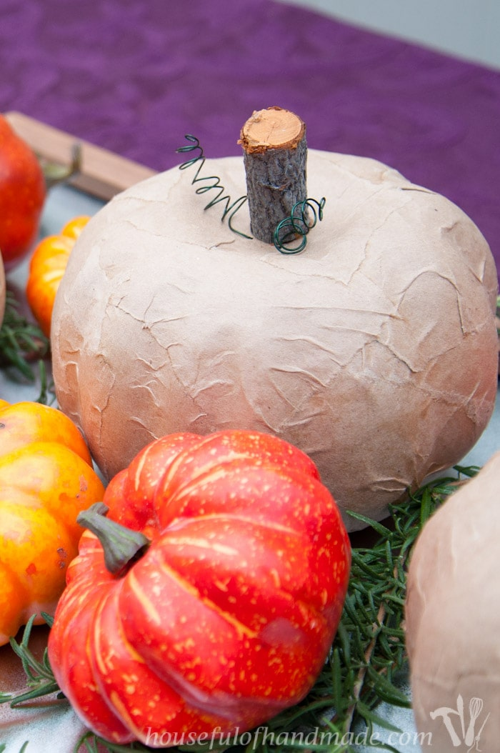 Beautiful rustic pumpkins made from dollar store pumpkins and some brown paper bags. | HousefulofHandmade.com