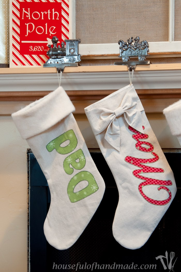 Make these awesome personalized Christmas stockings out of drop cloth! | Housefulofhandmade.com